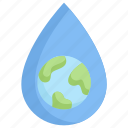 conservation, earth day, earth with drop water, ecology, environment, mother, nature icon