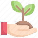 earth day, ecology, environment, grow, mother, nature, sprout in hand icon