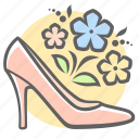 fashion, flowers, mother's day, shoes, slipper icon