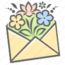 bouquet, email, envelope, flowers, letter, mail, mother's day icon
