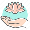 appeasement, care, flower, hand, harmony, lotus icon
