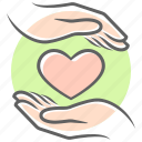 care, hands, heart, life, life insurance, love, romance icon