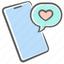 congratulation, heart, message, mobile, phone, smartphone icon