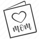 congratulation, day, heart, mother's day, mothers, postcard icon