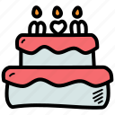 mothers, day, celebrate, cake icon