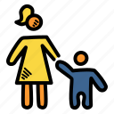 day, holding, mother, son icon