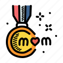 mom, mothers, day, medal icon
