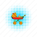 baby, carriage, child, comics, pram, pramkid, wheel icon