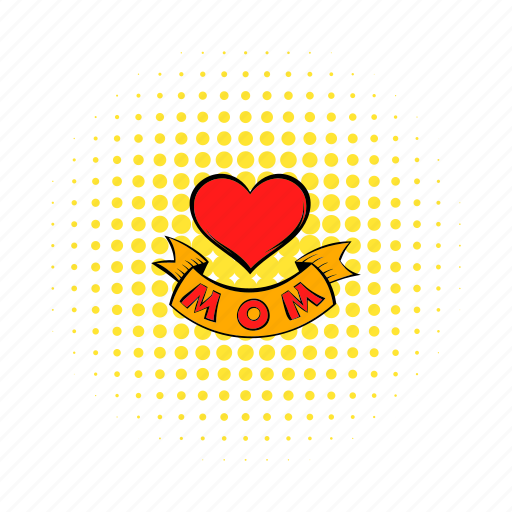 comics, greeting, heart, love, mom, mother, ribbon icon