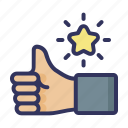 thumb, up, like, star, hand, motivated