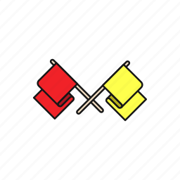 accident, flag, motogp, red, warn, yellow icon