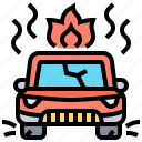 accident, burn, car, crash, insurance icon