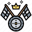 flag, motor, racing, sport, staring icon