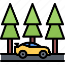 forest, machine, motor, race, racing, sports, tree icon