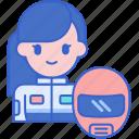 driver, female, go, kart icon