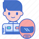 driver, go, kart, male icon