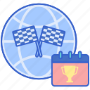 calendar, event, globe, international icon