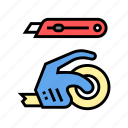 cardboard, couch, express, knife, scotch, tape icon