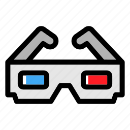 anaglyph, cinema, glasses, movie, three-dimensional glasses, view icon