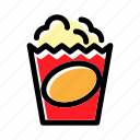 cinema, crunchy, food, popcorn, snack icon