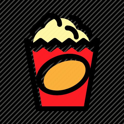 cinema, crunchy, food, popcorn, snack icon