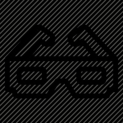 anaglyph, cinema, glasses, movie, three dimension glasses, three-dimensional glasses, view icon