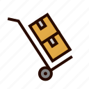 box, cardboard, deliver, hand, shipping, truck icon