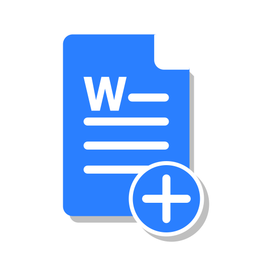 add, blue, create, doc, file, office, word icon