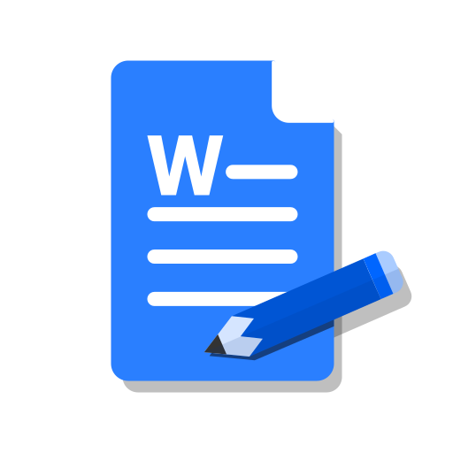 blue, doc, edit, ms, word, write icon