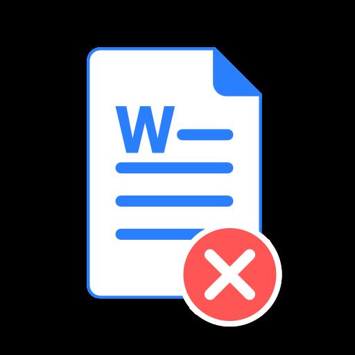 delete, doc, file, ms, remove, word icon