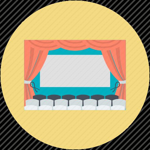 audience, auditorium, cinema, cinema hall, movie theater icon
