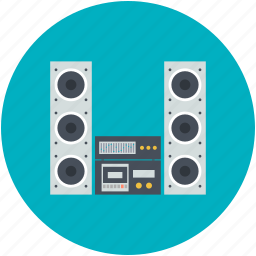 dvd, dvd player, music system, sound system, speakers icon