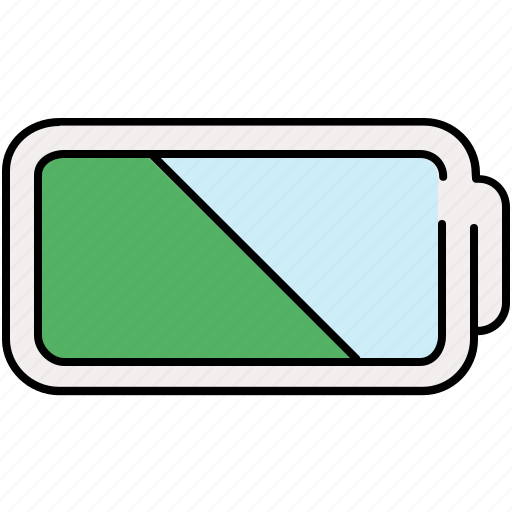 battery, half, multimedia icon