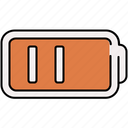 battery, half, lines, multimedia icon