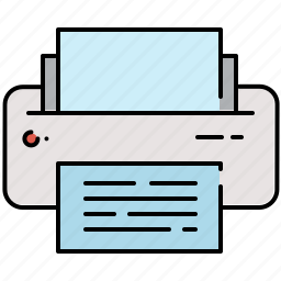 computer, multimedia, paper, printer icon