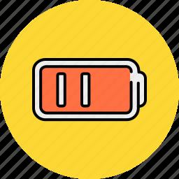 battery, half, lines, multimedia icon