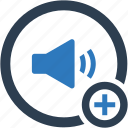 volume, add, plus, speaker