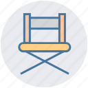 action, chair, director, furniture, media, multimedia, sit icon