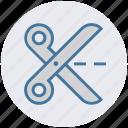 action, cut, cutting, edit, scissors, split, trim icon