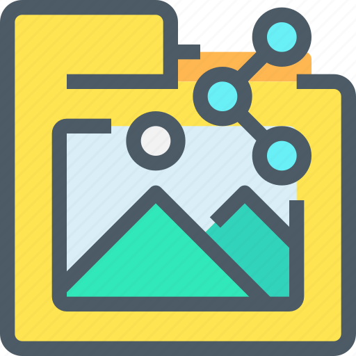 Sharing, media, share, file, folder, document icon