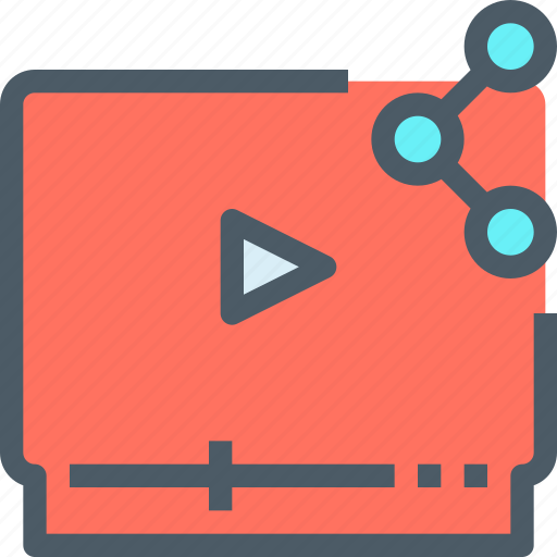 media, movie, network, share, sharing, video icon