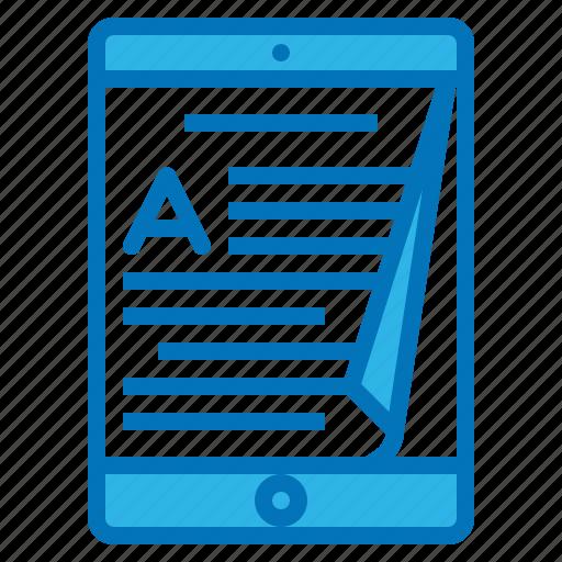 ebook, multimedia, paper, read, tablet icon