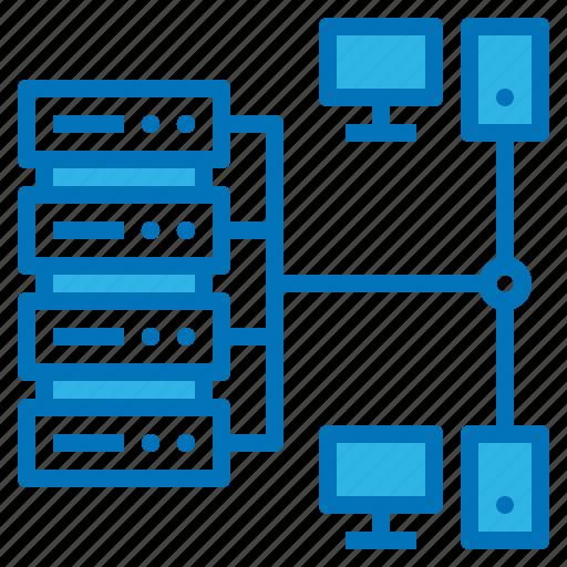 computer, data, file, multimedia, network, server icon