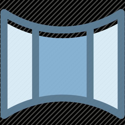audio, curved, multimedia, panorama, panoramic, photo, photography icon