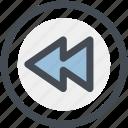 audio, back, multimedia, music, rewind, sound, video icon
