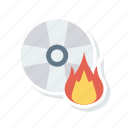 cd, disk, diskette, flame icon