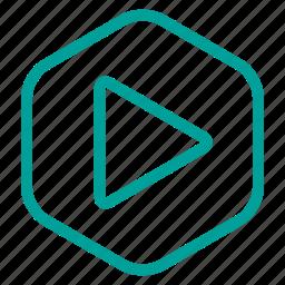 computer, hexagon, media, multimedia, play icon