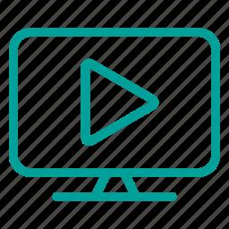 computer, media, multimedia, play, tv, web icon