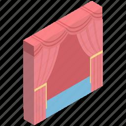 cinema, cinema curtain, cinema hall, curtain, film, movie, movie theater icon