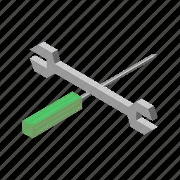 isometric, multimedia, repair, screw, screw driver, setting icon